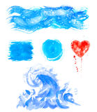 Watercolor hand painting textures.Blue Stains,spot drops,splashes set. Watercolor hand painting textures.Stains,spot drops,splashes set.Watercolor blue,cyan royalty free illustration