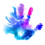 Watercolor hand print Royalty Free Stock Image