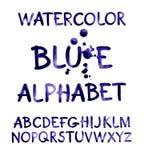 Watercolor hand written purple alphabet. Vector watercolor. Stock Image