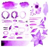 Watercolor handmade design elements Stock Photos