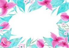 Watercolor handmade floral frame. Can use it for invitations, decorations, greeting cards. Stock Photography