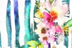 Watercolor Handmade Painting Wedding Birthday Mother Greeting Card With Flowers Pastel Colors Royalty Free Stock Images