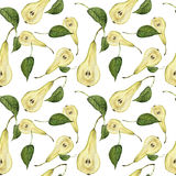 Watercolor handmade pattern with realistic pears Conference and leaves. Seamless texture. Illustration for your design Royalty Free Stock Photos