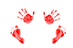 Watercolor handprints and footprints little baby. RED handprints and footprints little baby Stock Photos