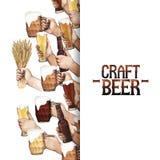 Watercolor hands with beer vector illustration