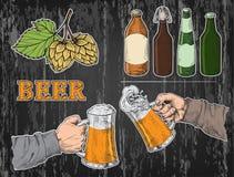 Watercolor hands holding with beer glasses mug, hops, bottle stock illustration