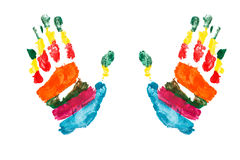 Watercolor hands print a kid Stock Photos