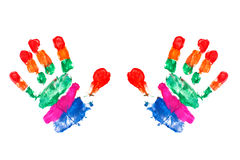Watercolor hands print a kid stock image