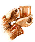 Watercolor  Hands  with Teacup. Hand drawn watercolor illustration. Hygge theme. Elements of home comfort.  Teacup  in female hands isolated on white background Stock Photography