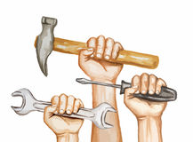 Watercolor hands with tools. Watercolor hands with tools on white background. Happy labor day watercolor illustration Stock Images