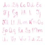 Watercolor handwritten alphabet, vector illustration Stock Images