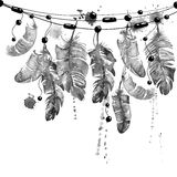 Watercolor hanging bird feathers. Stock Photography