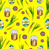 Watercolor Happiness Easter seamless pattern bright against the stock illustration