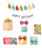 Watercolor Happy birthday element set. Hand painted illustration with tassel garland, Happy birthday lettering and Royalty Free Stock Image