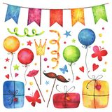 Watercolor Happy birthday party clip art se. T. Hand painted hearts, gift boxes, festive garlands, air balloons, cake, butterflies, hat cone, confetti, props royalty free illustration