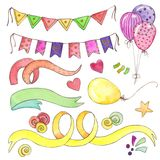 Watercolor Happy Birthday Party Clip Art Set Royalty Free Stock Images