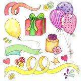Watercolor Happy birthday party clip art set royalty free illustration