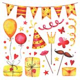 Watercolor Happy birthday party clip art set. Hand painted hearts, gift boxes, festive garlands, air balloons, butterflies, hat cone, confetti, props, stars stock illustration