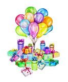 Watercolor Happy Birthday party illustration. Hand drawn celebration objects: gift boxes and air balloons Royalty Free Stock Photo