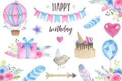 Watercolor happy birthday party set with bird air balloon garland and flowers bouquets feathers arrow gift box cake Royalty Free Stock Photography