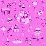 Watercolor Happy Birthday pink seamless pattern. Hand drawn celebration objects: gift boxes, air balloons, Birthday cake, pinata Royalty Free Stock Photo