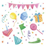 Watercolor Happy birthday set. Hand drawn vintage celebration objects: air balloons, flags garland, ribbon, stars. Vector design elements Stock Images