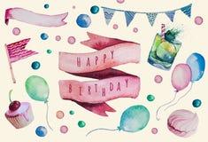 Watercolor Happy birthday set. Hand drawn vintage Stock Photos