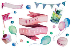 Watercolor Happy birthday set. Hand drawn vintage Royalty Free Stock Images