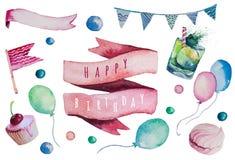 Watercolor Happy birthday set. Hand drawn vintage
