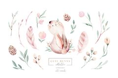 Watercolor Happy Easter baby bunnies design with spring blossom flower. Rabbit bunny kids illustration isolated. Hand