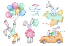 Watercolor happy easter cute bunny rabbit with air balloons on car and plane. Isolated on white background. Spring holiday birthday children decoration kid vector illustration