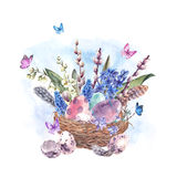Watercolor Happy Easter greeting card, spring flowers bouquet an. Watercolor  Happy Easter greeting card, spring flowers bouquet and colored eggs in the nest Royalty Free Stock Photos