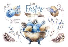 Watercolor Happy Easter Vase Illustration With Flowers, Feathers And Eggs. Spring Holiday Decoration. April Boho Design. Stock Images