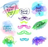 Watercolor Happy Fathers day banner set Stock Photo