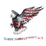 Watercolor Happy Independence Day greeting card. Stock Photos