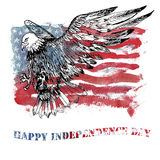 Watercolor Happy Independence Day greeting card. Stock Image