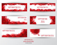 Watercolor 2016 Happy New Year banner background.vector. Stock Photo