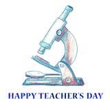 Watercolor Happy Teacher`s Day Background. Stock Photo