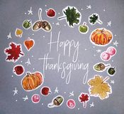 Watercolor Happy thanksgiving day card vector illustration