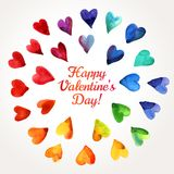 Watercolor Happy Valentines Day Hearts Cloud. Royalty Free Stock Photo