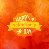 Watercolor Happy Valentines Day Typography Vector Stock Photos
