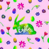 Watercolor hare silhouette with colourful eggs and flowerson pink background. Bright hand drawn illustration. Happy Easter. Royalty Free Stock Photos