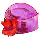 Watercolor hat female retro drawing cartoon style isolated on a Stock Photos