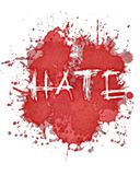 Watercolor hate splat. Watercolor splatter with teh word HATE Royalty Free Stock Images