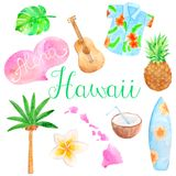 Watercolor Hawaii set Royalty Free Stock Image