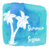Watercolor Hawaiian, tropical graphic design Stock Photos