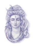 Watercolor head of Shiva Royalty Free Stock Photos