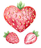 Watercolor hears shaped strawberries Stock Images