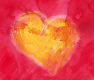Watercolor heart. Yellow heart over red background Royalty Free Stock Photography
