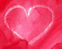 Watercolor heart. Heart over red watercolor background stock illustration
